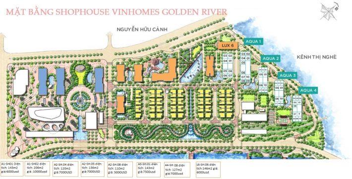 Shophouse mặt bằng kinh doanh Vinhomes Golden River